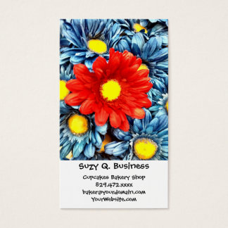Colorful Orange Red Blue Gerber Daisies Flowers