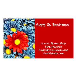 Colorful Orange Red Blue Gerber Daisies Flowers Business Cards