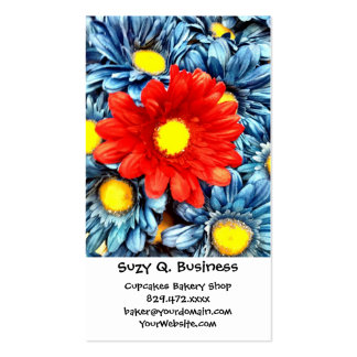 Colorful Orange Red Blue Gerber Daisies Flowers Business Card Template