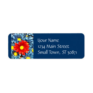 Colorful Orange Red Blue Gerber Daisies Flowers Return Address Label