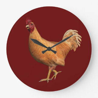 Colorful Orange Rooster Clocks
