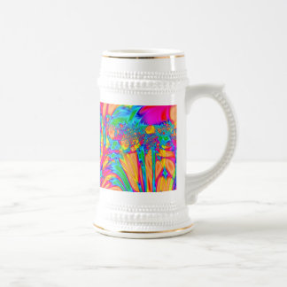 Colorful orange yellow abstract art beer steins