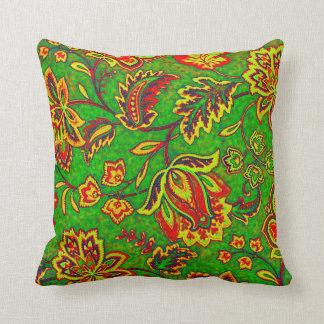 Colorful Orante Retro Flower-Green Background Cushion