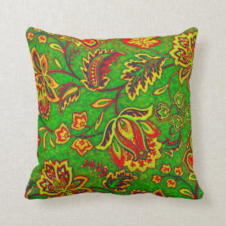 Colorful Orante Retro Flower-Green Background Throw Pillow