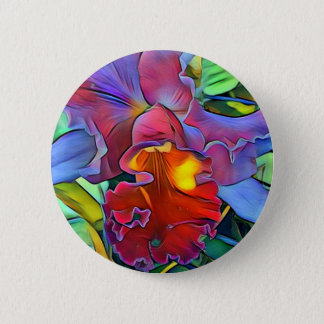 Colorful Orchid Button