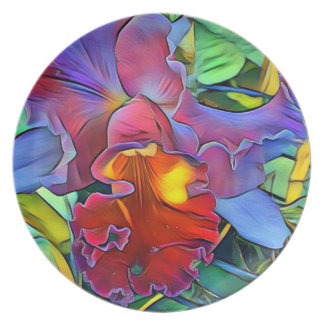 Colorful Orchid Melamine Plate