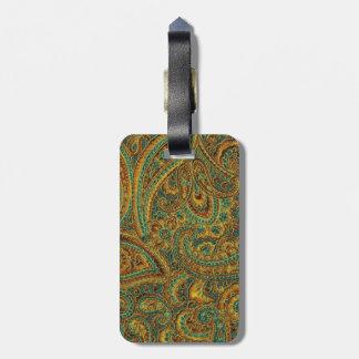 Colorful Ornate Retro Paisley Luggage Tag