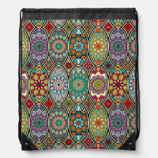 Colorful oval various mandalas floral pattern drawstring bag