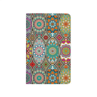 Colorful oval various mandalas floral pattern journal
