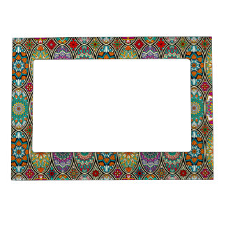 Colorful oval various mandalas floral pattern magnetic picture frame