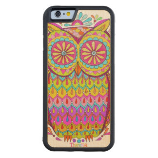 Colorful Owl Carved Maple iPhone 6 Bumper Case