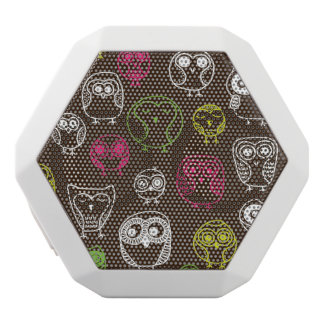 Colorful owl doodle background pattern white boombot rex bluetooth speaker