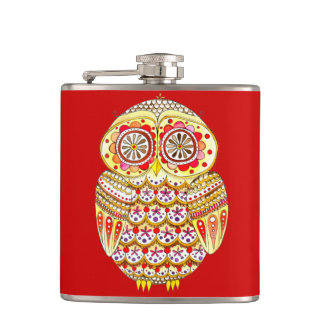 Colorful Owl Flask - Cute Groovy Retro Art