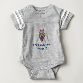 Colorful Owl I Poo Beautiful Colors template Baby Bodysuit
