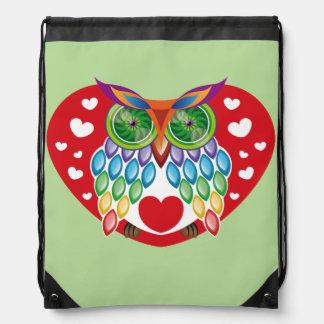 Colorful Owl, Love Drawstring Bag