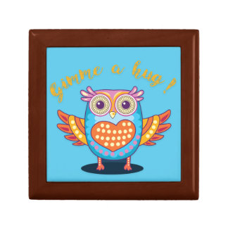 Colorful Owl on Blue Gimme a hug! Giftbox Gift Box