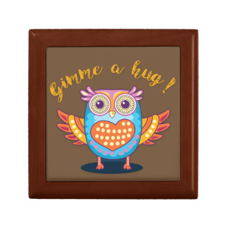 Colorful Owl on Brown Gimme a hug! Giftbox Gift Box