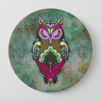 Colorful Owl Pink Teal Coloring Book 10 Cm Round Badge