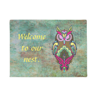 Colorful Owl Teal Yellow Welcome template Doormat