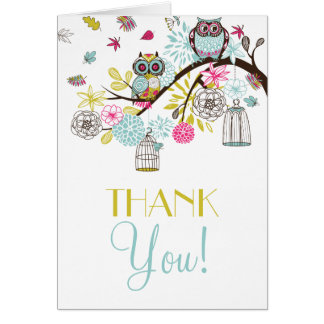 Colorful Owls and Falling Leaves Thank You Card