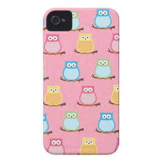 Colorful Owls Blackberry Phone Case - Light Pink iPhone 4 Case