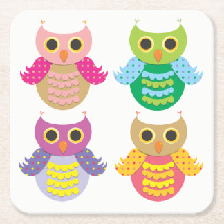 Colorful Owls Coasters
