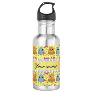 Colorful Owls Faux Gold Foil Bling Diamonds 532 Ml Water Bottle