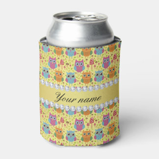 Colorful Owls Faux Gold Foil Bling Diamonds Can Cooler