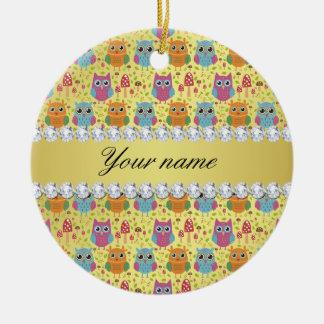 Colorful Owls Faux Gold Foil Bling Diamonds Ceramic Ornament