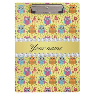 Colorful Owls Faux Gold Foil Bling Diamonds Clipboard