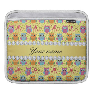 Colorful Owls Faux Gold Foil Bling Diamonds iPad Sleeve