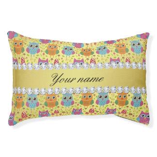 Colorful Owls Faux Gold Foil Bling Diamonds Pet Bed
