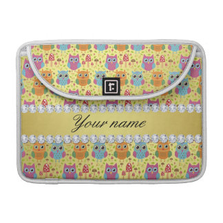 Colorful Owls Faux Gold Foil Bling Diamonds Sleeve For MacBook Pro
