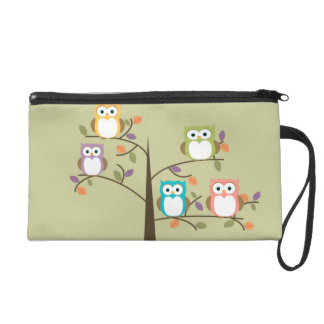 Colorful Owls in Pretty Tree Wristlet Purse