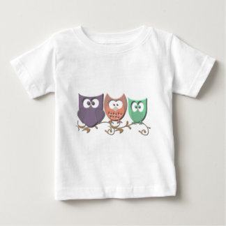 Colorful Owls on a Vine Picture Baby T-Shirt