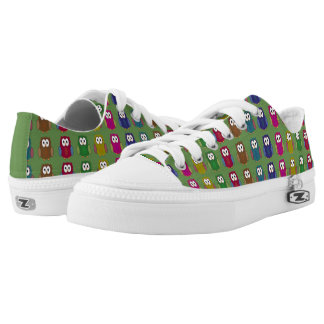 Colorful Owls on Green Printed Shoes