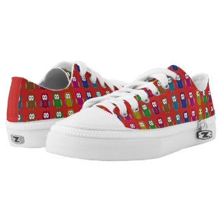 Colorful Owls on Red Low Tops