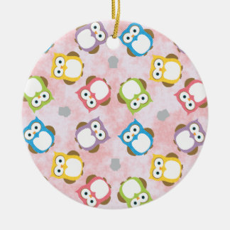 Colorful owls pattern illustration christmas ornament