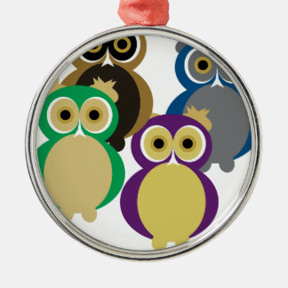 Colorful Owls Silver-Colored Round Decoration