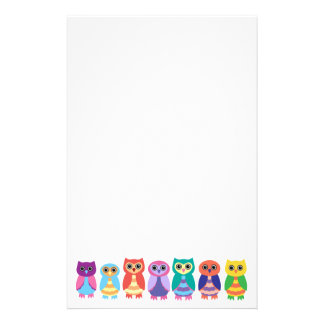 Colorful Owls Stationery