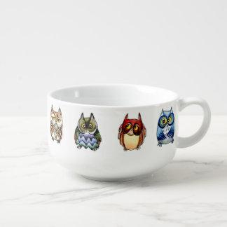 Colorful owls watercolor soup mug