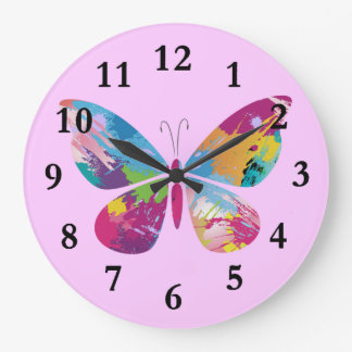 Colorful Paint-Splashed Butterfly Design Clock
