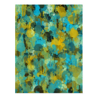 Colorful paint splatter artistic design postcard