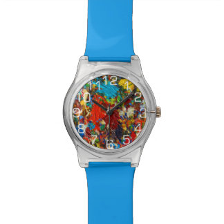 Colorful Paint Splatter With Numbers Wrist Watches