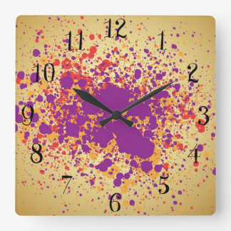 Colorful paint splattters square wall clock