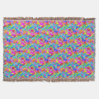 Colorful paint stains throw blanket
