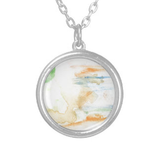 Colorful Paint Strokes Silver Plated Necklace