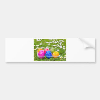 Colorful painted easter eggs in grass with daisies bumper sticker