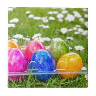 Colorful painted easter eggs in grass with daisies tile