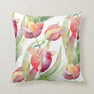 Colorful Painted Tulips Watercolor Floral Throw Pillow